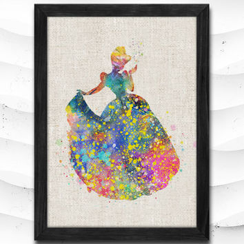 Cinderella Disney Princess Watercolor Art Print Home Decor Giclee Wall Art Poster Wall Decor Art Home Decoration Linen Poster CAP19