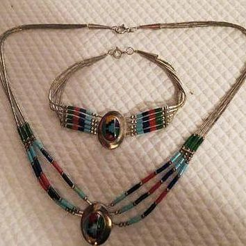 Native American Indian Necklace & Bracelet set Sterling Silver w/ Inlaid Stones