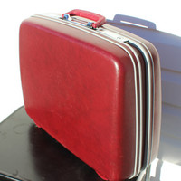 Vintage Maroon Samsonite Hard Side Suitcase Red, Retro Hardside Luggage, Home Storage Home Decor 1960s 1970s