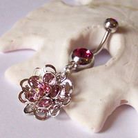 Belly Button Ring - Belly Button Jewelry - Rose Pink - Peridot - Sapphire -  Swarovski Crystal Flower Drop - READY TO SHIP
