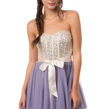 Teeze Me Queen Colleen Dress - Champagne/Lilac