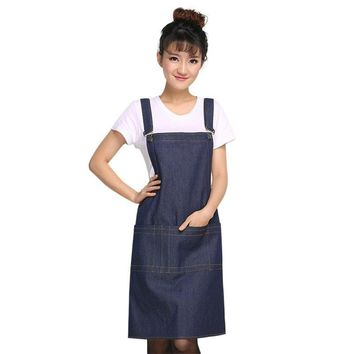 Adjustable Sleeveless Denim Durable Cooking Aprons