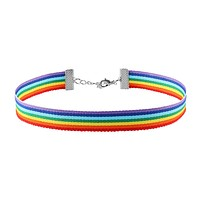 Rainbow LGBT Gay LGBT Pride Nylon Ribbon Chain Choker Necklace