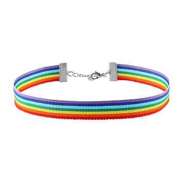 1 Pc Simple Rainbow Choker Necklace Gay Pride LGBT Ribbon Clavicle Chain Jewelry Nylon Choker Necklace Gift for Women