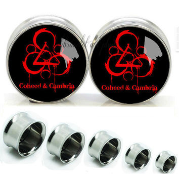 Blood coheed cambria Double Flare steel  plugs,Screw on flesh tunnel,Body Piercing Gifts,0g plugs,00 plug,best gifts for groomsmen