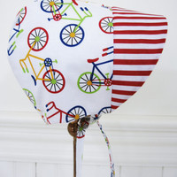 Unisex baby bonnet baby boy baby girl sun bonnet baby gift infant sunbonnet bicycles and red stripes primary colors bicycle infant hat