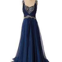 Navy Blue Chiffon Draped Back Evening Gown