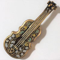 Damascene Violin Viola Brooch Pin Musical Instrument Black and Gold Mid Century Spanish Jewelry Musician Gift 518