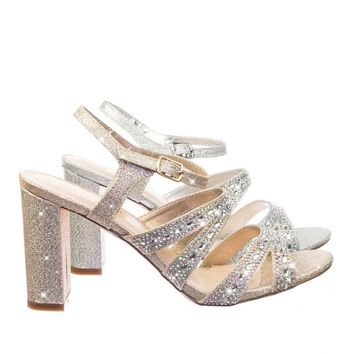 Lilia5 Block Heel Cage Dress Sandal w Glitter Fabric & Rhinestone Crystal