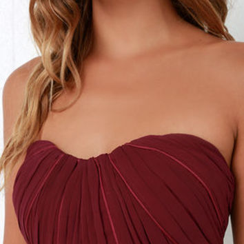 Draw Her In Burgundy Strapless Maxi Dress