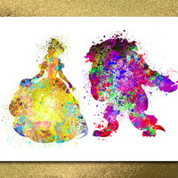 Beauty in the Beast Digital Print, Watercolor Disney, Disney art, Kids Print, Digital Baby Room, Nursery Wall Art, Baby Girl Print