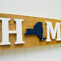 "New York Yankees ""State Heart"" Home Sign - Handcrafted wood with official team colors"