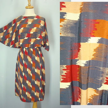 Vintage 80s Dress / Southwestern Dress / Navajo Dress / Dolman Sleeves / Small