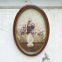 Antique Oval Frame with Floral Print, Small Wood Frame, Wall Frame with Curved Glass, Picture Frame
