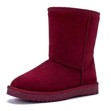 Waterproof snow High boots with high-level increase with warm velvet High boots Coffee