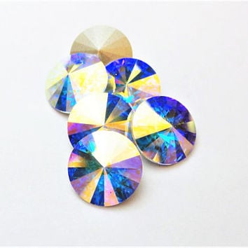 Six Aroura Borealis 1122 12mm Foiled Swarovski Pointed Back Rivoli Crystal DKSJewelrydesigns