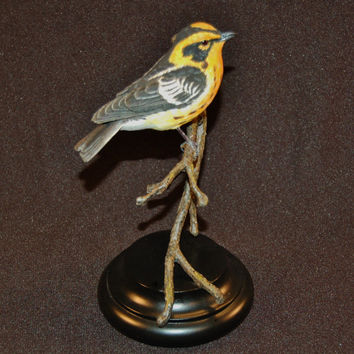 Blackburnian Warbler decorative hand carved songbird wood carving bird figurine anniversary gift father's day gift wedding gift bird lover