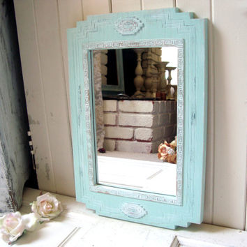 Aqua Home Interiors Aztec Mirror, Shabby Chic Aqua Mint Mirror, HOMCO Mirror, Cottage Chic Aqua Mirror, Girls Bedroom Decor, Gift Ideas