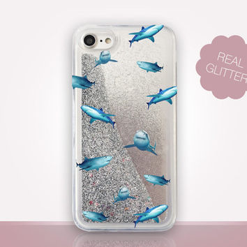 Sharks Glitter Phone Case - Transparent Case - Clear Case - Transparent iPhone 7 - Clear iPhone 7 Plus - Gel Case - iPhone 6/6S