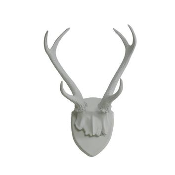 Antler Wall Mount | Deer Antler Rack | Faux Taxidermy | Gray Resin