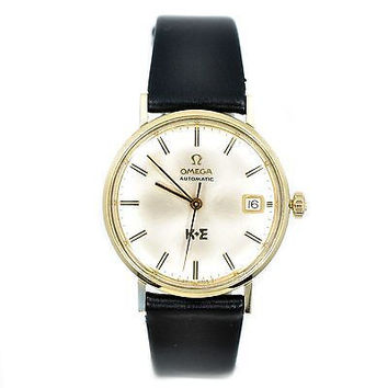 OMEGA VINTAGE MODEL 14K SOLID YELLOW GOLD CASE LEATHER MANUAL WINDING MENS WATCH
