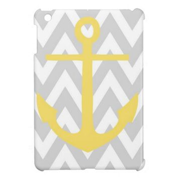 Gray Chevron Anchor iPad Mini Case from Zazzle.com