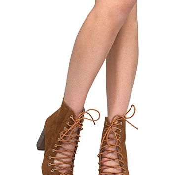Lace Up Peep Toe Chunky Heel - Trendy Wood Block Heel Bootie - Open Toe Boot - Corrine by J Adams