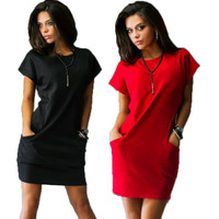 Women Slim dress o-neck Black and red dress Casual
