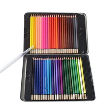 Dream 48 Colored Artist Grade High Quality Watercolor Water Soluble Colored Pencil Set, Full Sized 7 Inch Length * Now Includes a Free Water Brush, Metal Tin Case