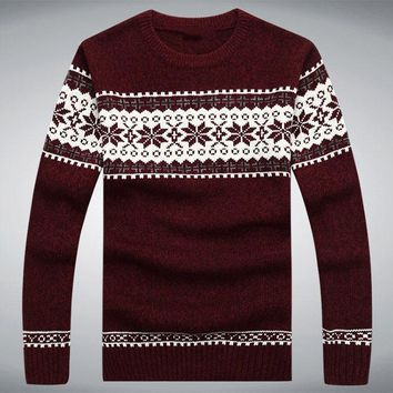 Men Sweater Winter Snow Knitting Christmas Sweater Pullover Fashion Casual Long Sleeve Sweter Hombre Plus Size M-XXXL