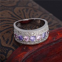 1 PC Fashion Silver Plated Multicolor Cubic Zirconia Crystal Rhinestone Wedding Ring Size 6-9 HOT Jewlery