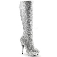 Funtasma-5 Inch Heel Sliver Glitter Knee High