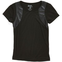 Girl's Flowers by Zoe Faux Leather Insert Short Sleeve Top ,