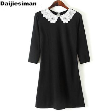 2016 Spring Women Brand Carved Flowers Lace White Peter pan Collar Knit Cotton Black Dress Slim Vintage Party Evening Vestidos