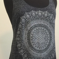 Racer Back Tank, Flower of Life Mandala, Lotus, Sacred Geometry, Silver, Hand Printed Top, Summer Clothing, Festival Clothing, Made in USA