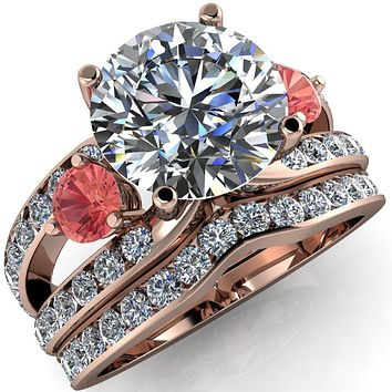 Orion Round Moissanite 2 Round Padparadscha Sapphire Sides Split Shank Diamond Channel Set Ring