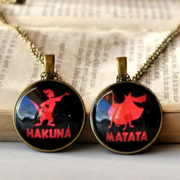 Matching BFF Sisters Necklaces, Hakuna Matata Pendants, Glass Dome Resin Jewelry