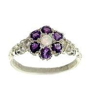 10k White Gold Natural Opal & Amethyst Womens Vintage Daisy Ring - Sizes 4 to 12 Available