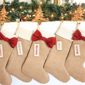 PERSONALIZED Christmas Stockings, Burlap holiday decor