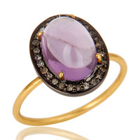 Natural Amethyst And Pave Set Diamond 14K Yellow Gold Statement Stack Ring