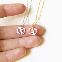Tiny Outline Cube Necklace, Charm Necklace, Hipster Necklace, Dainty Jewelry, Arrow Necklace, Tiny Arrow Necklace, Gift Ideas, Holiday Gifts