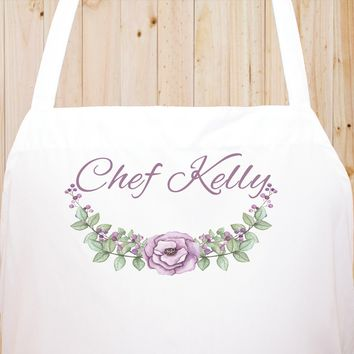 Custom Text Floral Flowers Chef Fun Kitchen Apron, BBQ Apron, Restaurant Apron Quality Cooks Clothing  FL20