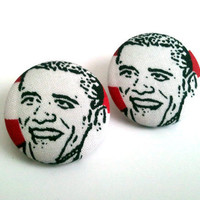 Barack Obama red black and white button earrings