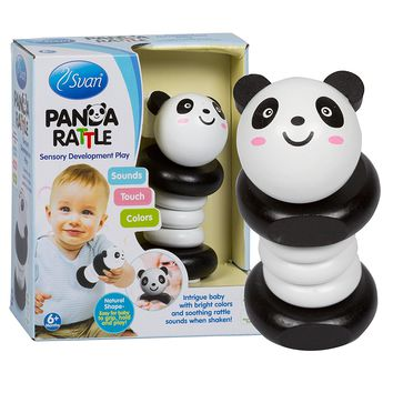 Panda Rattle by Svan - Made from All Natural Wood - Perfect for Baby Shower Gift, Your Baby Nursery!