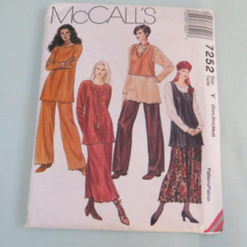 Vintage McCall's Xsmall Small meduim sewing pattern 7252 misses tunic tank top skirt pants crinkling