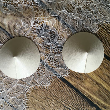 Ivory Pasties, Ivory Nipple Pasties, Off White Pasties, Vegan Pasties, Faux Leather Pasties, Handmade Pasties, DIY Pasties Nipple Pasty Base