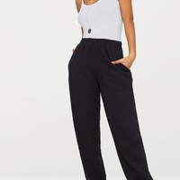 Black Casual High Waisted Jogger
