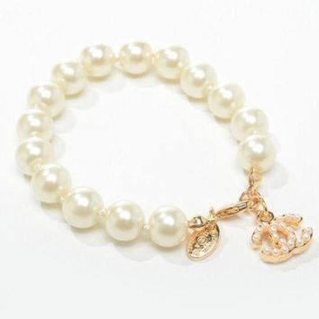 DCCKNQ2 Chanel Woman Fashion Logo Pearls Bracelet For Best Gift
