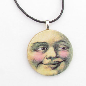 Moon Face No:2 - Necklace and Pendant Celestial Necklace