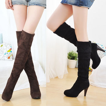 Women's Shoes Over the Knee Thigh Stretchy High Heels Boots